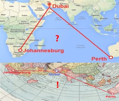 on a ball earth johannesburg south africa to perth australia should be a straight shot over the indian ocean with convenient re fueling possibilities on