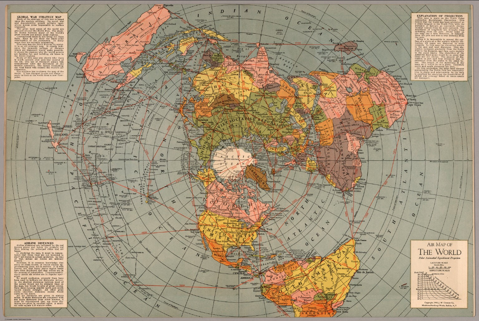 New Flat Earth Map.Azimuthal Equidistant Air Map Of 1945 Proves Flat Earth